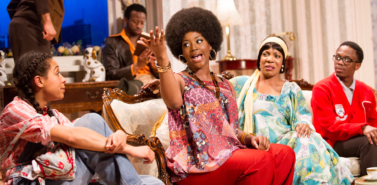 Rebecca Scroggs, Clifford Samual, Rochelle Rose, Jocelyn Jee Esien and Isaac Ssebandeke in One Monkey Don't Stop No Show at the Tricycle Theatre, London. Photo: Tristram Kenton