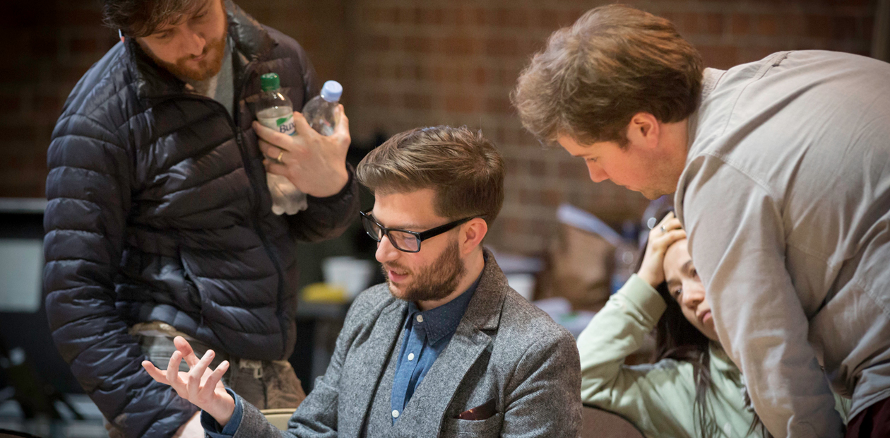 James McAvoy, Jamie Lloyd, Ann Yee and Ed Stambollouian in rehearsal for Macbeth. Photo: Johan Persson