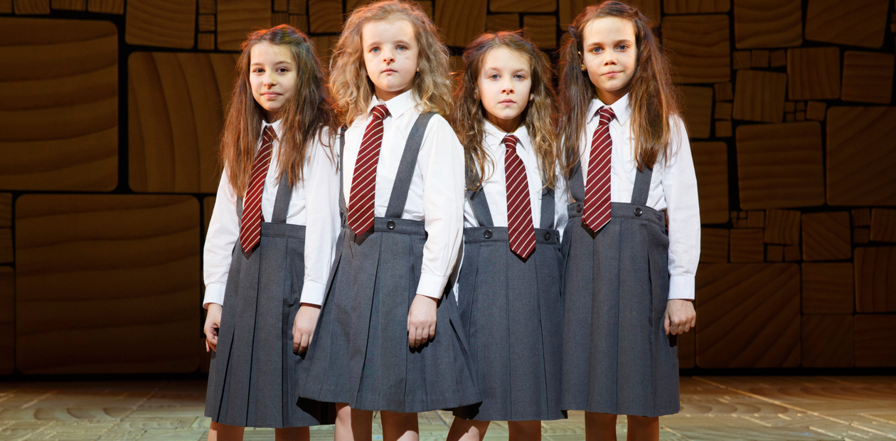 Bailey Ryon, Milly Shapiro, Sophia Gennus and Oona Lawrence, who share the title role in Matilda on Broadway. Photo: Joan Marcus