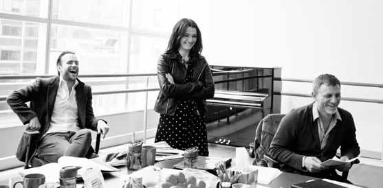 Rafe Spall, Rachel Weisz and Daniel Craig in rehearsals for Betrayal. Photo: Brigitte Lacombe