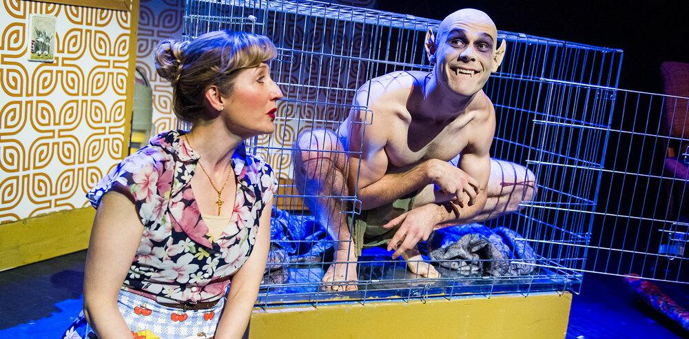 Lauren Ward and Rob Compton in Bat Boy at Southwark Playhouse. Photo: Tristram Kenton