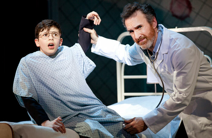 Toby Murray (left) and Cameron Blakely in a scene from Adrian Mole, Curve Leicester. Photo: Pamela Raith Photography
