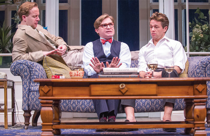 Geoffrey Streatfeild, Jonathan Broadbent and Julian Ovenden in My Night With Reg by Kevin Elyot at the Apollo Theatre. Photo: Tristram Kenton