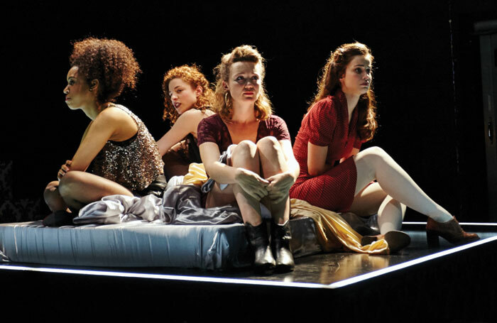 Jade Ogugua, Asha Reid, Lucy Kilpatrick and Heida Reed in Scarlet at the Southwark Playhouse, London. Photo: Richard Lakos