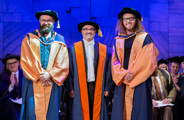 Matilda writers Tim Minchin and Dennis Kelly awarded honorary degrees from Mountview