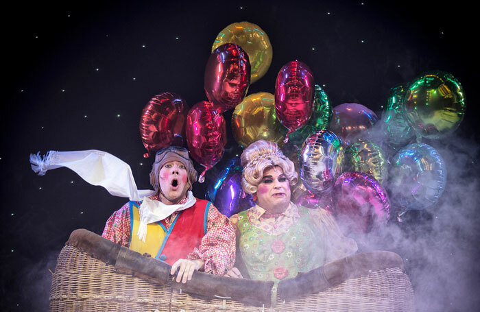 Jamie Brook and Peter Gordon in Jack and the Beanstalk at the Yvonne Arnaud Theatre, Guildford. Photo: Bryan Allman