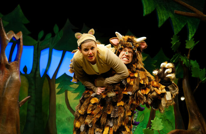 Ellie Bell and Owen Guerin in The Gruffalo at the Vaudeville Theatre, London, in 2015. Photo: Tall Stories