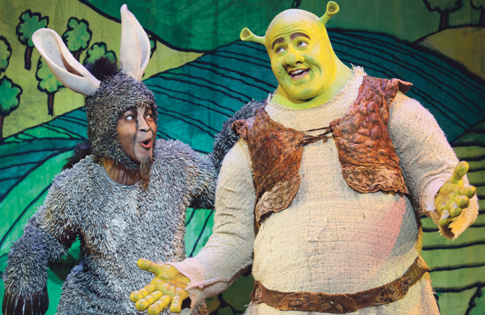Jeremy Gaston and Perry Sook in Shrek the Musical. Photo: Paparazzi by Appointment