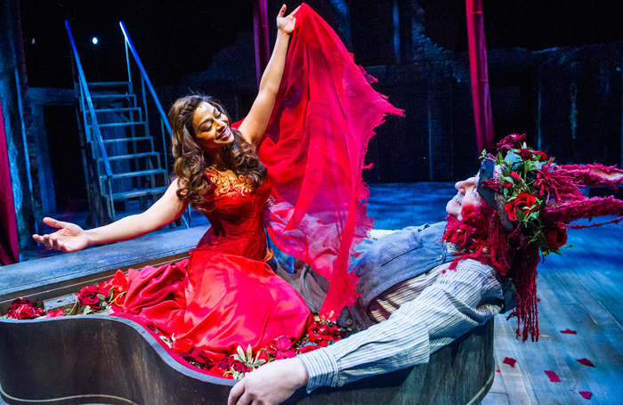 Ayesha Dharker and Chris Clarke in A Midsummer Night's Dream at the Royal Shakespeare Theatre. Photo: Tristram Kenton