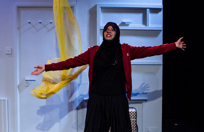 Ambreen Razia in The Diary of a Hounslow Girl at Ovalhouse, London. Photo: Richard Davenport