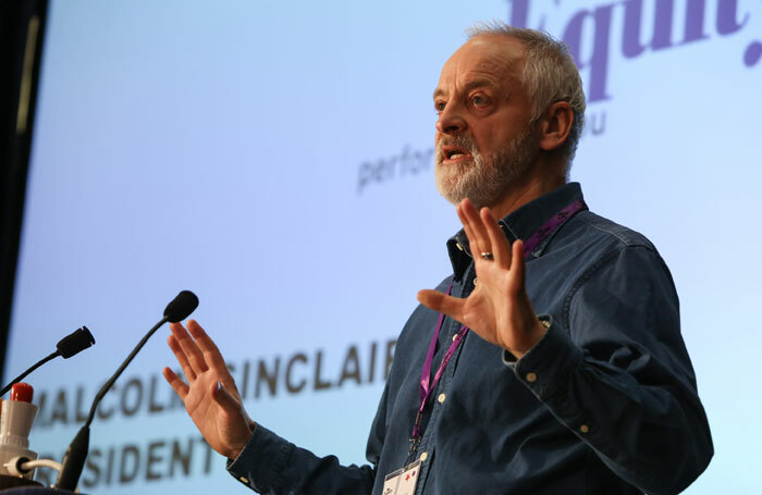 Malcolm Sinclair, Equity president, speaking at Equity's annual representative conference 2015. Photo: Phil Adams