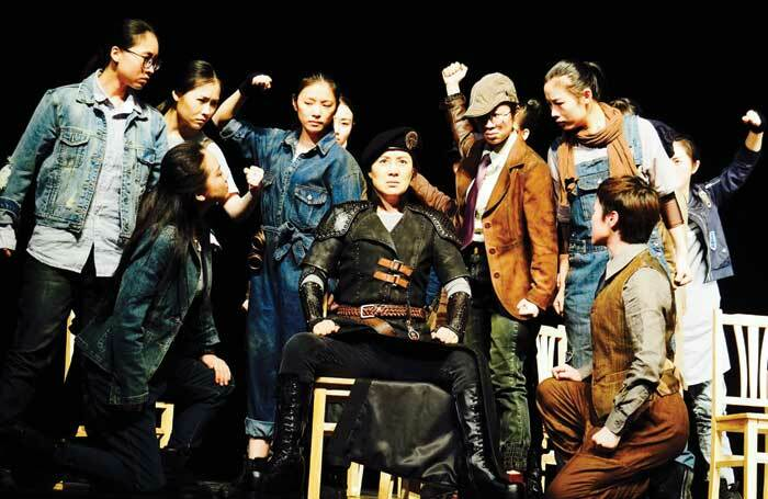 Zhejiang Xiaobaihua Yue Opera Troupe in rehearsals for Coriolanus, the Chinese company's first Shakespeare production, staged earlier this year. Photo: Zhejiang Xiaobaihua
