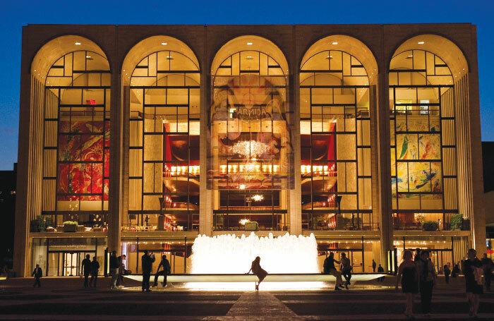 The opera house on Lincoln Center Plaza. Photo: Jonathan Tichler/Metropolitan Opera