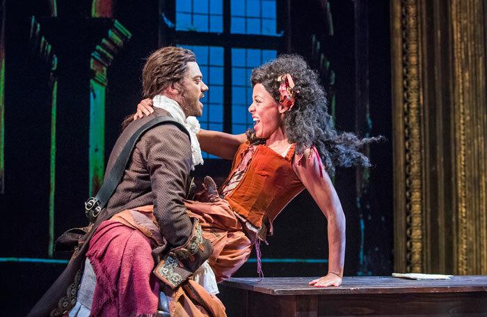 Dominic Cooper and Nina Toussaint-White in The Libertine at the Theatre Royal Haymarket. Photo: Tristram Kenton