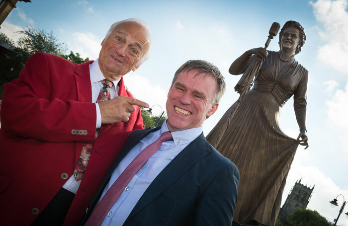 Roy Hudd and Sean Hedges-Quinn with the statue of Gracie Fields. Photo: Alan Hamer