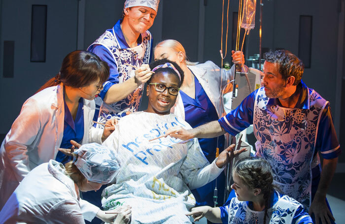 Naana Agyei-Ampadu (centre) in A Pacifist's Guide to the War on Cancer at the Dorfman, National Theatre. Photo: Tristram Kenton