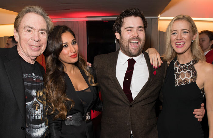 Composer Andrew Lloyd Webber with cast members Preeya Kalidas, David Fynn and Florence Andrews at the School of Rock press night. Photo: Craig Sugden