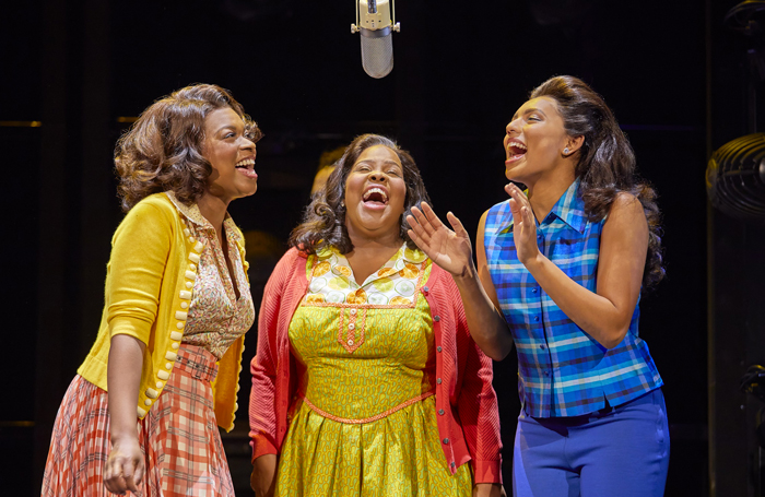 Ibinabo Jack, Amber Riley and Liisi LaFontaine in Dreamgirls at the Savoy Theatre, London in 2016. Photo: Brinkhoff Mogenburg