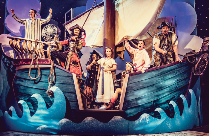 Peter Pan Goes Wrong for the BBC: the cast on the specially constructed set at Pinewood Studios. Photo: Idil Sukan/BBC