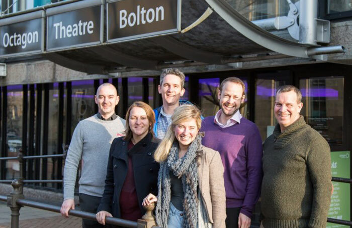 Bolton Octagon capital project team. Back row: Ric Ashmore, Ernst ter Horst, Roddy Gauld, and Flip Tanner. Front row: Lynsay Robinson and Elizabeth Newman