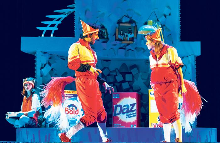 Jade Croot, Greg Barnett and Lillie Flynn in Fantastic Mr Fox at Nuffield Southampton Theatres. Photo: Manuel Harlan