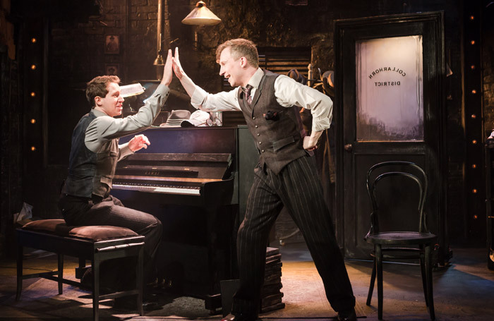 Ed MacArthur and Jeremy Legat in Murder for Two at Watermill Theatre, Newbury. Photo: Scott Rylander