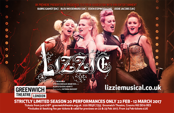 Competition: Win tickets to see new musical Lizzie at Greenwich Theatre