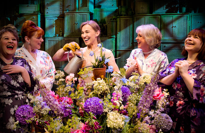 Claire Machin, Sophie Louise Dann, Joanna Riding, Claire Moore and Debbie Chazen in The Girls at Phoenix Theatre, London. Photo: Matt Crockett, Dewynters