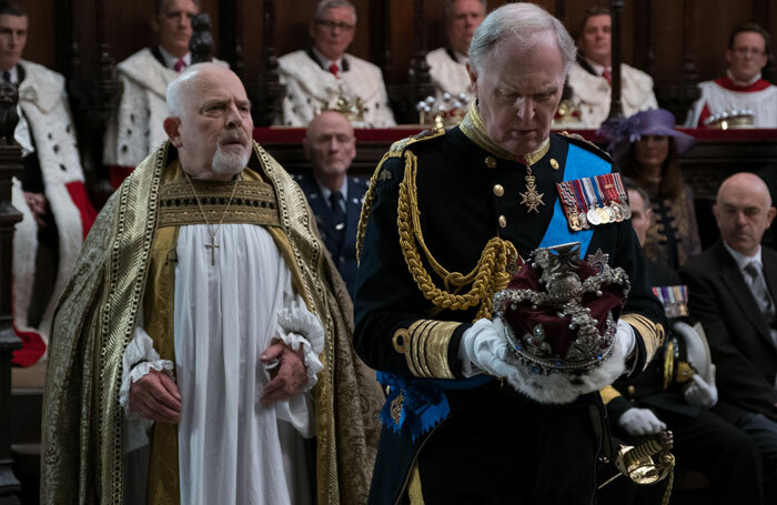 The Queen isn't dead. A scene from BBC2's broadcast of King Charles III. Photo: Robert Viglasky