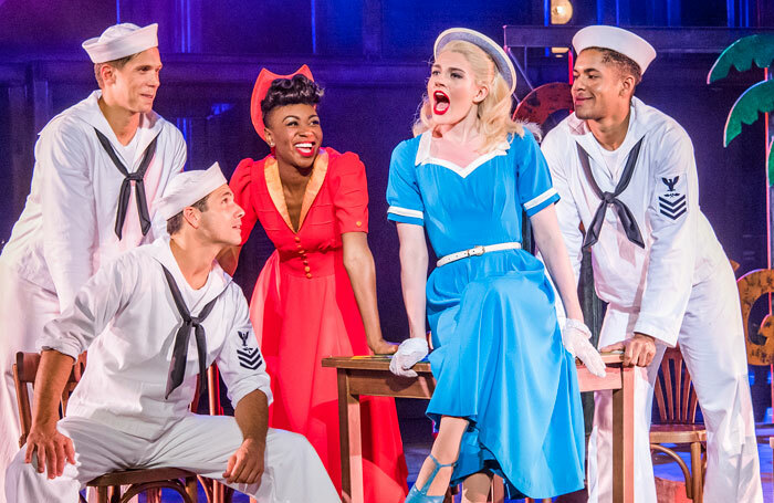 Samuel Edwards, Danny Mac, Miriam-Teak Lee, Lizzy Connolly and Jacob Maynard in On The Town at Regent's Park Open Air Theatre. Photo: Tristram Kenton