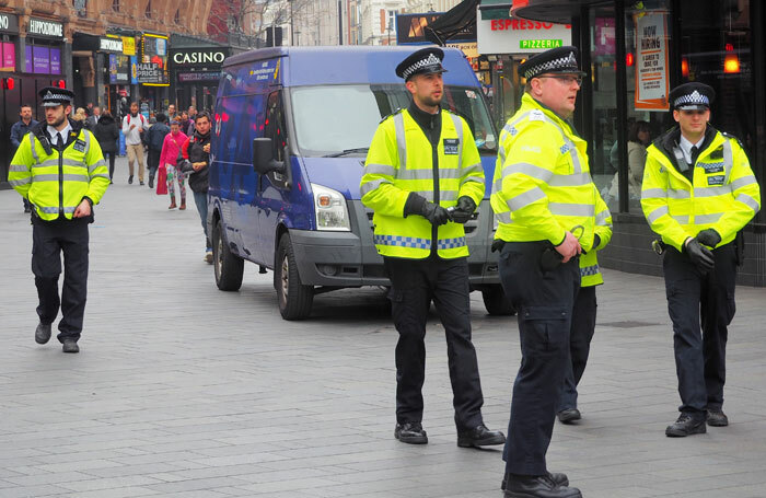Police patrolling the West End in the wake of the terror attack in Westminster. Photo: Brian Minkoff/Shutterstock