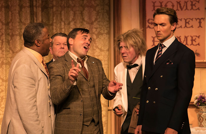 The cast of One Man, Two Guvnors at Devonshire Park Theatre, Eastbourne. Photo: Martin Smith
