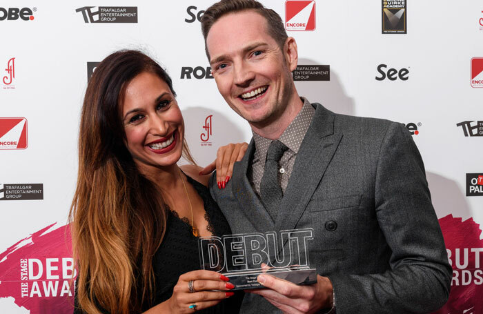 Award presenter, actor Preeya Kalidas with best composer award winner Dan Gillespie Sells