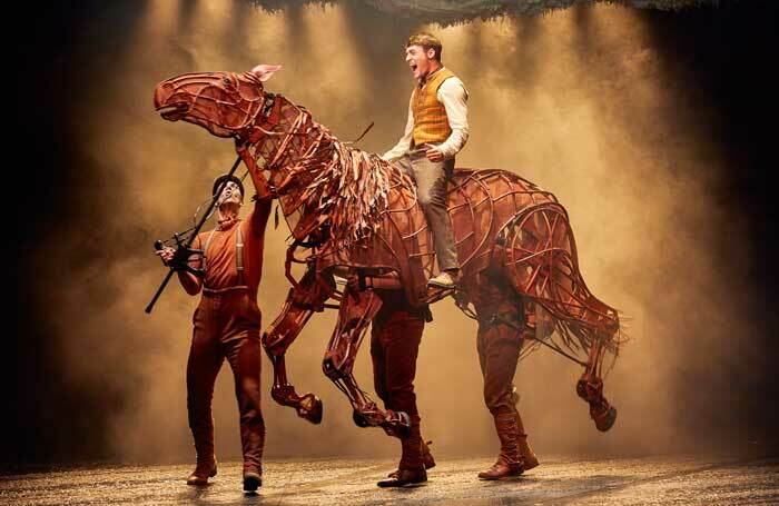 Thomas Dennis, Tom Stacy, Lucas Button and Lewis Howard in the UK tour of War Horse. Photo: Brinkhoff/Moegenburg