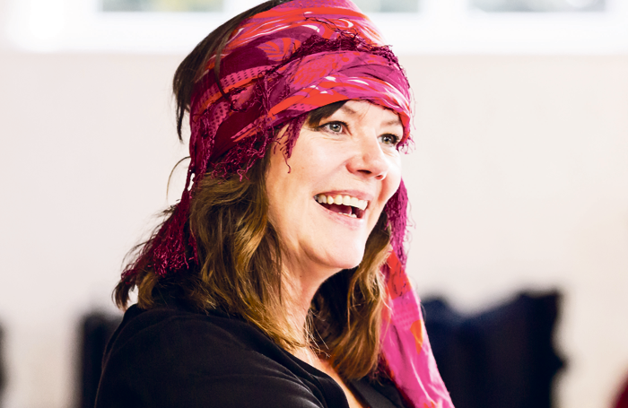 Josie Lawrence in rehearsals for Mother Courage and Her Children. Photo: Scott Rylander