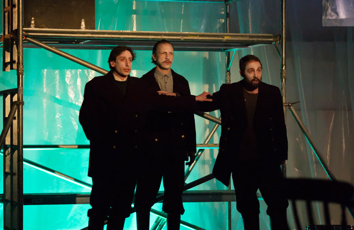 Paul Curievici, Pauls Putnins and Owain Browne in The Lighthouse at Hackney Showroom, London. Photo: Nick Rutter