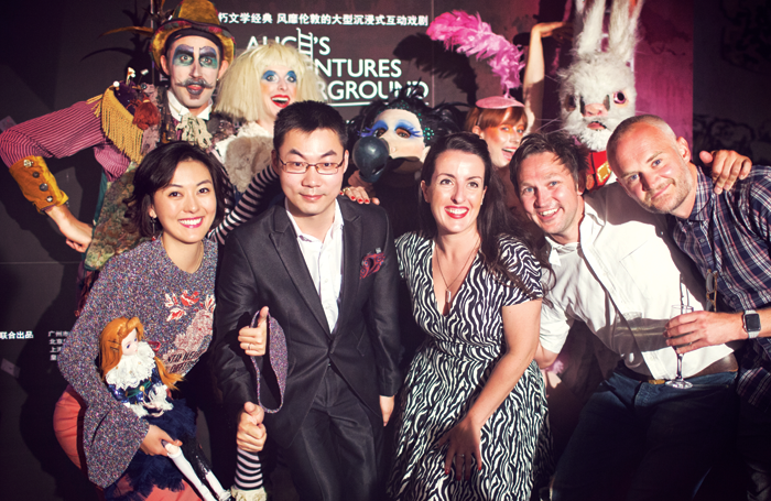 Chinese producers Xie Yi and Dian Li, UK producer Emma Brunjes and James Seager and Oliver Lansley of Les Enfants Terribles.