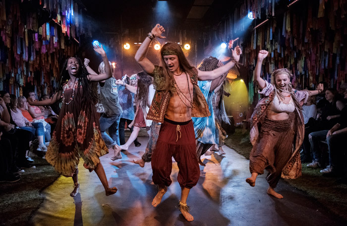 The cast of Hair at the Vaults, London. Photo:  Claire Bilyard