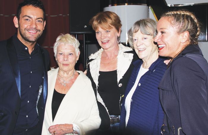 Ben Forster, Judi Dench, Samantha Bond, Maggie Smith and Tamzin Outhwaite at Acting for Others' Presidential Awards 2017. The umbrella organisation is comprised of 15 theatrical charities. Photo: Mark Lomas