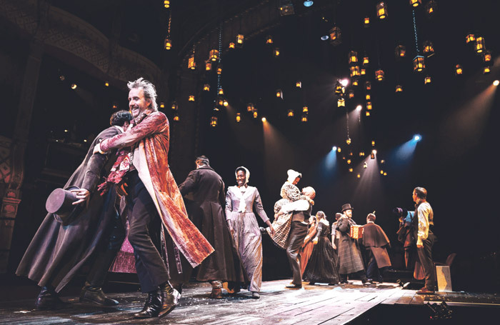 Rhys Ifans and the cast of A Christmas Carol at the Old Vic, London. Photo: Manuel Harlan