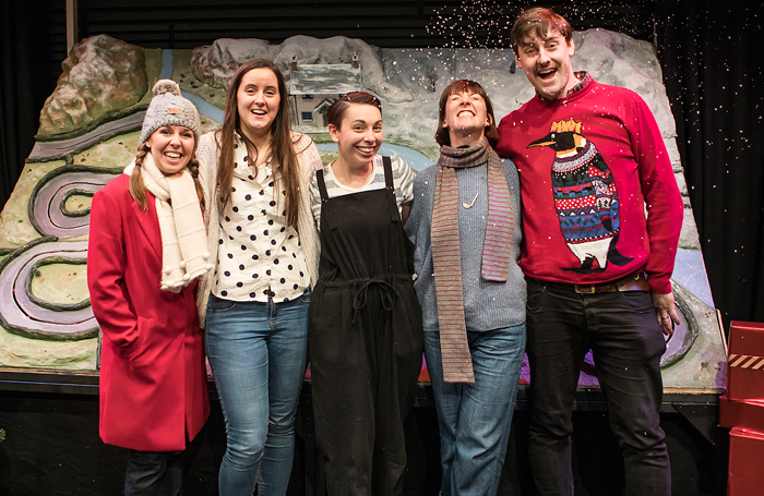 Cast member Katie Haygarth, writer Heather Westwell, Emma Longthorne (cast), director Deb Pugh and producer Feargus Woods Dunlop at the press night for Home for Christmas at the Lichfield Garrick. Photo: Pamela Raith