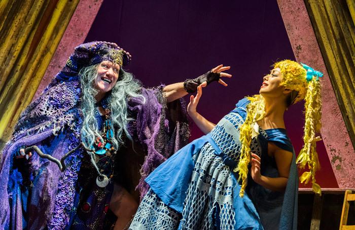 Michael Bertenshaw  and Julie Yammanee in Rapunzel at Theatre Royal Stratford East, London. Photo: Tristram Kenton