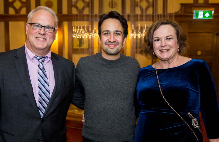 Hamilton creator Lin-Manuel Miranda with fans John (left) and Kathy Herbert (right) at the Victoria Palace Theatre. Photo: VisitLondon.com