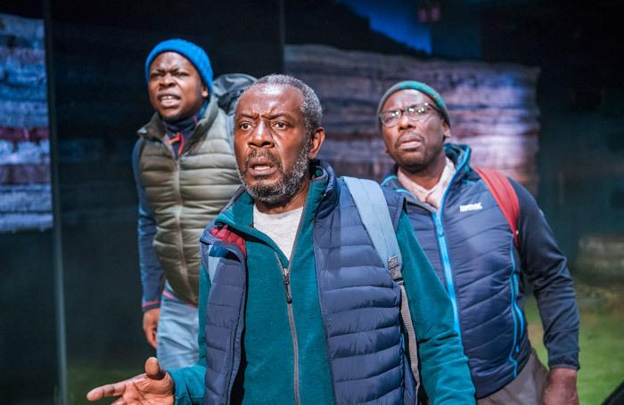 Tonderai Munyevu, Tyrone Huggins and Trevor Laird in Black Men Walking at Royal Exchange Theatre, Manchester. Photo:  Tristram Kenton