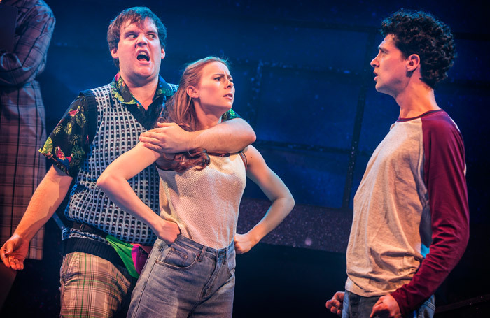 Dan Buckley, Laura Baldwin and Liam Forde in Eugenius at the Other Palace, London. Photo: Pamela Raith
