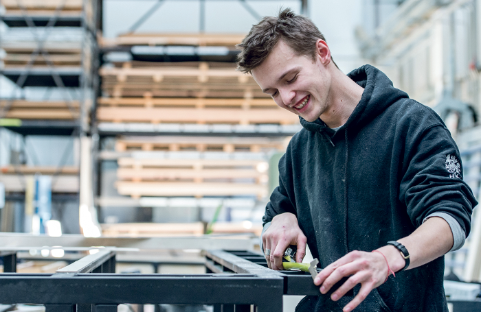 Flynn Clark, carpentry apprentice, Royal Opera House. Photo: Sim Canetty-Clarke