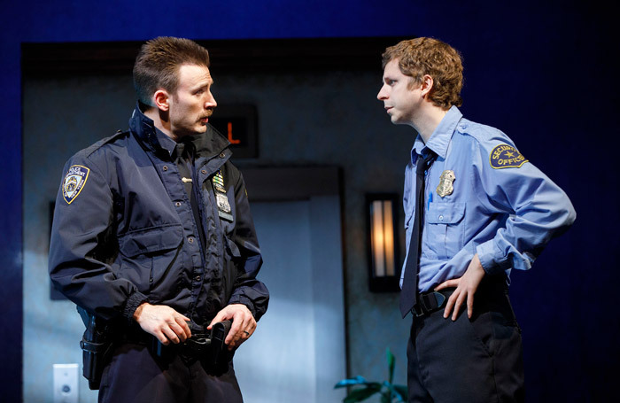 Chris Evans and Michael Cera in Lobby Hero at Second Stage, New York. Photo: Joan Marcus