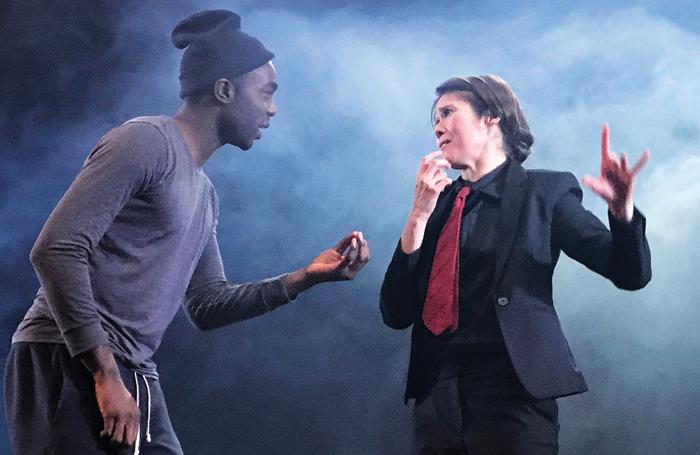 Becky Barry on stage with Paapa Essiedu. Photo: Byron Mondahi