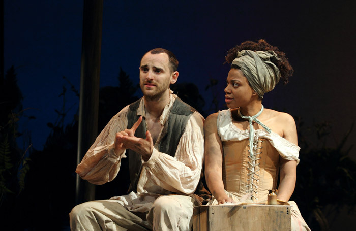 Tom Dawze and Sapphire Joy in Our Country's Good at Nottingham Playhouse. Photo: Catherine Ashmore