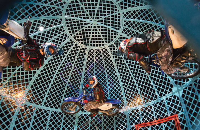 Lucius Troupe in the Globe of Death. Photo: Piet-Hein Out